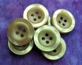 Green Scoop Buttons - CHOOSE 19mm 3/4 inch, 23mm 7/8 inch - Luminescent Sage Green Ripple Buttons - 7 VTG NOS Moss Green Sewing Button PL570