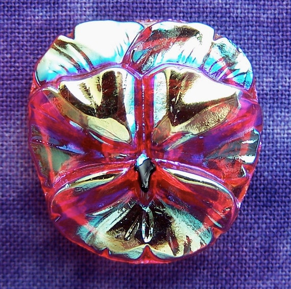 "czech glass button Carved Pansy Flower fire ab 7/8"" x1"