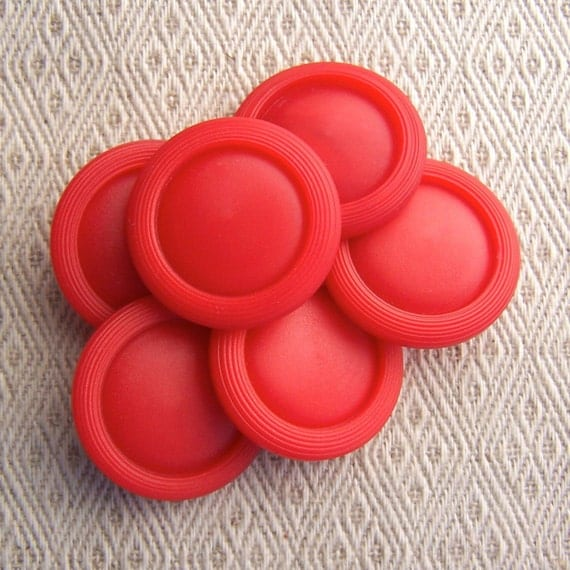 "BiG vintage buttons Coral Red etched rims 1 1/16"" x6"