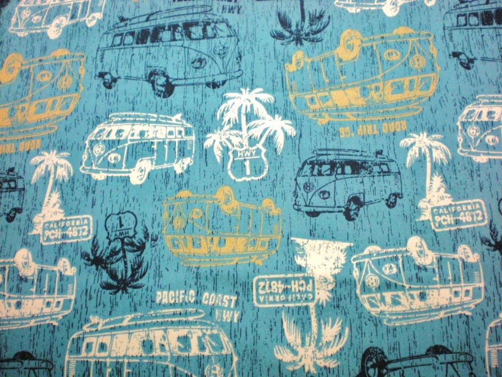 California Road Trip Vw Bus Fabric Over One Half Yard