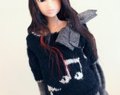 jiajiadoll-hand knitting- music sweater in black fits momoko and misaki