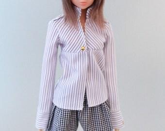 Jiajiadoll-cool stripes shirts fit momoko or blythe