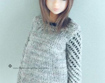 jiajiadoll-hand knitting- grey mesh sweater fits Momoko Or Blythe Or Misaki