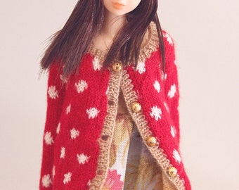 jiajiadoll-hand knitting-red long cardigan in white dots fits Momoko misaki or Blythe
