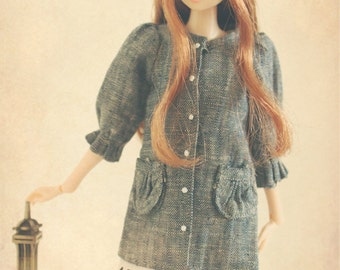 jiajiadoll blue denim long shirts for Momoko or Misaki or Blythe