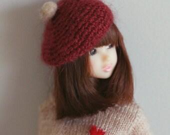 Jiajiadoll- hand knitting-magneta red mohair beret pompom hat fits Momoko And Misaki
