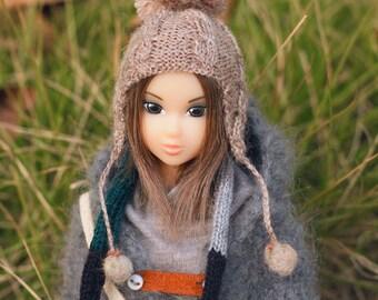 Jiajiadoll- hand knitting-camel twist helmet pompom hat fits Momoko And Misaki