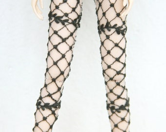 Jiajiadoll- black checked flower lace legging fits Momoko or Blythe or Misaki