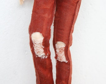 jiajiadoll-darker red washed tear hole skinny jeans fit momoko or blythe or misaki