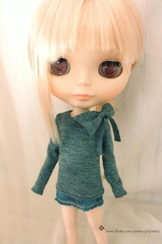 Jiajiadoll-grey bowknot T shirt fit blythe