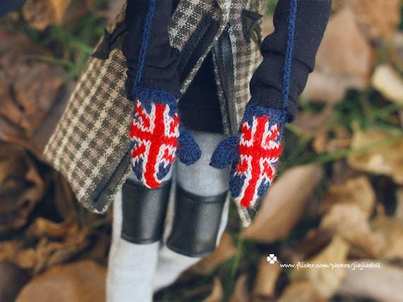 jiajiadoll hand-knitting union jack mitten fit momoko and Misaki or blythe