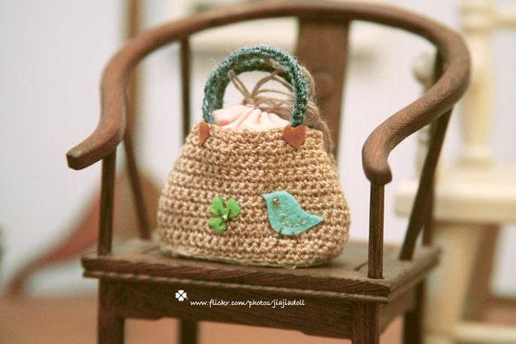 jiajiadoll-hand knitting-cream bird and clover little bag handbag fits Momoko Blythe Misaki Pullip Lati yellow YoSD