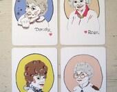 Set of 4 Golden Girls Postcards