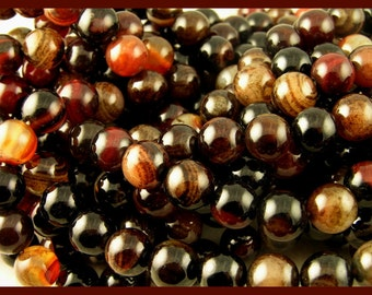 Mixed Agate strand 10mm round - GM306