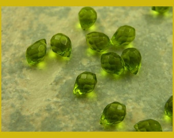 Olive Green Faceted Glass Briolettes - OE129