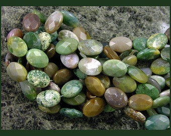 FANCY JASPER - 14mm  - Faceted Ovals   - GM357
