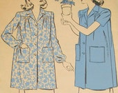 Vintage Pattern 1940s Advance 3739 Duster Smock Housecoat Bust 32 34