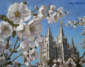 Salt Lake Temple in Blossom 11 x 14 Print - FREE SHIPPING this WEEK!