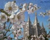 Salt Lake Temple in Blossom - 8 x 10 Print