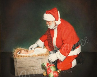 Santa - Jesus - baby - Christmas - 11 x 14 vertical canvas giclee                 Must See Up Close
