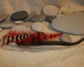 Feather Extention Red  with Black and White Grizzleys  DIY Kit 003
