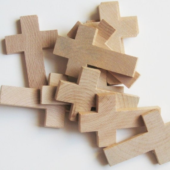 Large Unfinished Wooden Crosses 1 3/4 inch x 2 3/4 inch x 1/4 inch, Pack of 10
