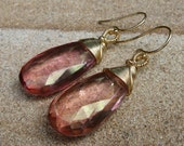 SALE - Grapefruit Pink Quartz 14k Gold Filled wrapped Earrings, was 98.00.
