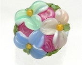 Brilynn Buttons PALE BLUE with ROSES FLORAL LAMPWORK GLASS BUTTON