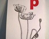 letterpress p is for poppy