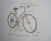 letterpress grey bicycle with green lettering