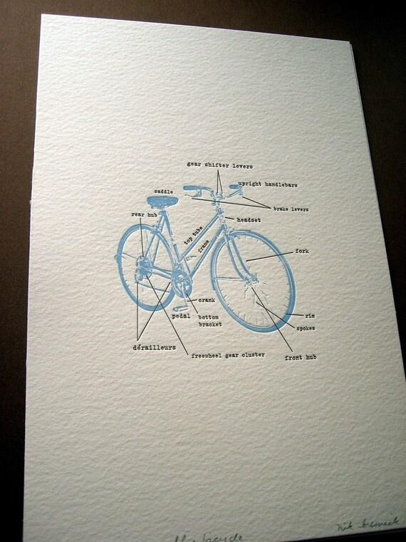 letterpress blue bicycle print