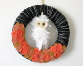 Halloween Owl Wreath, Black and Orange, 14 inch size