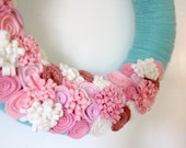 Aqua Pink Wreath, Coral and Turquoise Yarn and Felt Flower Wreath, 14 inch size - MADE TO ORDER