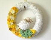 Nursery Lamb Wreath, Easter Lamb Wreath, Yellow and White, 14 inch size - MADE TO ORDER