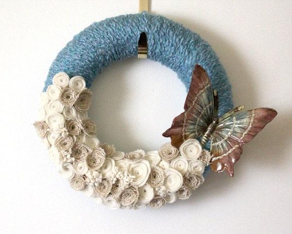 Blue Butterfly Wreath, 12 inch