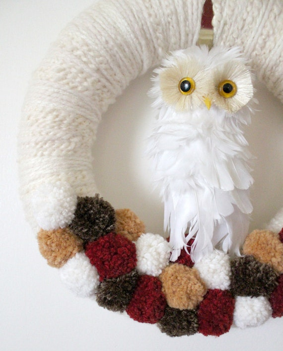 Autumn Owl Wreath with Poms, Large 14 inch size