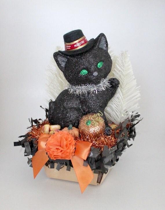 SALE - Black Cat Decoration, Halloween Decoration, Orange and Black Decor - Maestro