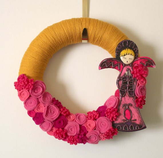HOLD FOR NORMA - Pink Angel Wreath, Retro Yarn and Felt Wreath, 14 inch size - Ready to Ship