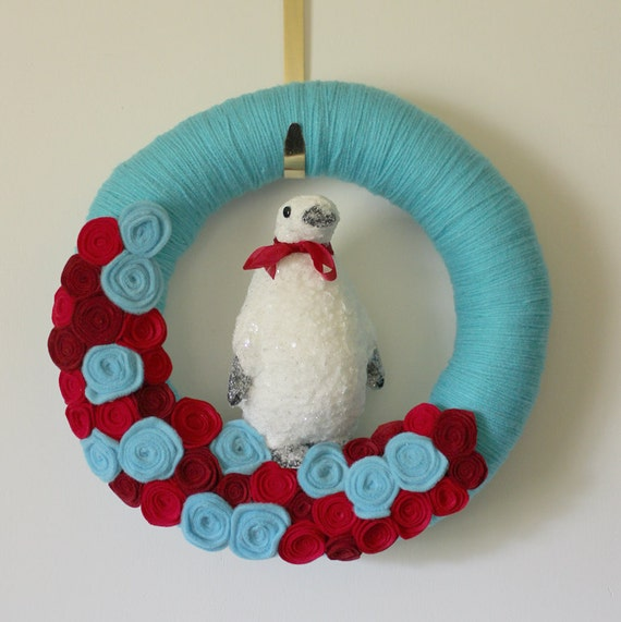 Turquoise Penguin Wreath, Red Accents, 14 inch size