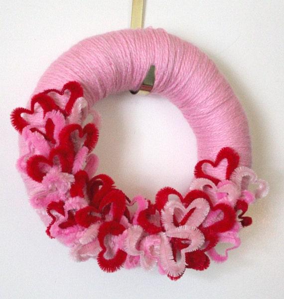 Pink Hearts Wreath, Valentine Yarn Wreath, Love Wreath, 12 inch Size - SHIPS JANUARY 2