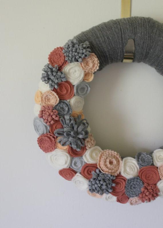 Gray Peach Wreath Yarn And Felt Wreath Gray Peach Coral