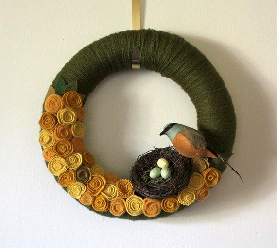 Yellow Bird Wreath with Nest - 14 inch size