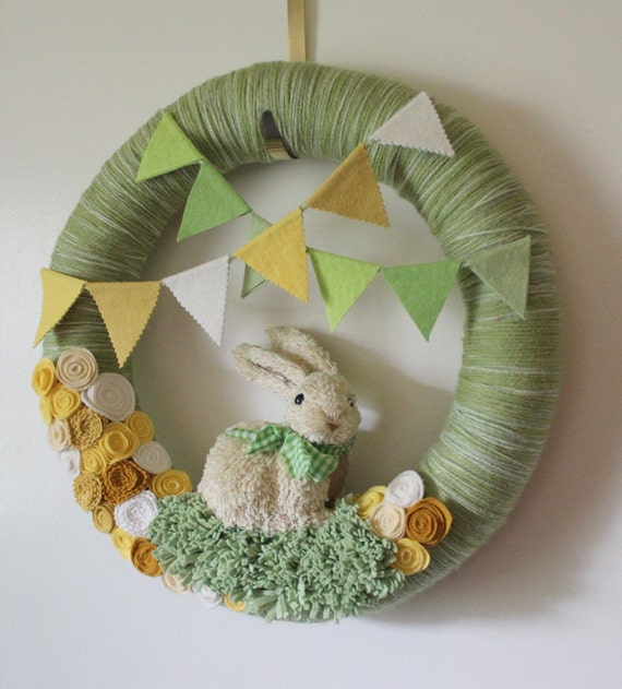 Rabbit Wreath, Bunny Wreath, Green and Yellow Nursery Wreath, Easter Wreath, Extra Large 18 inch size