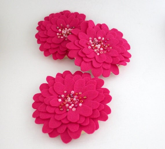 Hot Pink Flower Wall Hangings, Felt Wall Flowers, Set of 3, 4 inch size