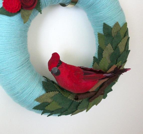 Cardinal Wreath, Aqua Wreath, Bird Wreath, Yarn and Felt Wreath - 12 inch size
