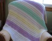 Pastel Striped Baby\/ Toddler Afghan