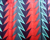 RESERVED FOR HICKEYCLOTHING - Black with Red and Green Lightning Motif African Wax Print Cotton, 1 yard (1 YARD LEFT)