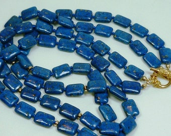Lapis lazuli double strand necklace with 14k gold filled beads