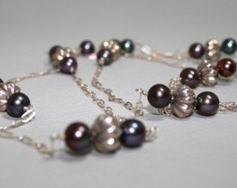 Iridescent grey pearls and sterling beads on sterling chain