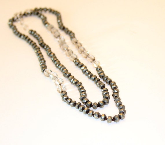 Long pyrite smokey quartz and sterling necklace